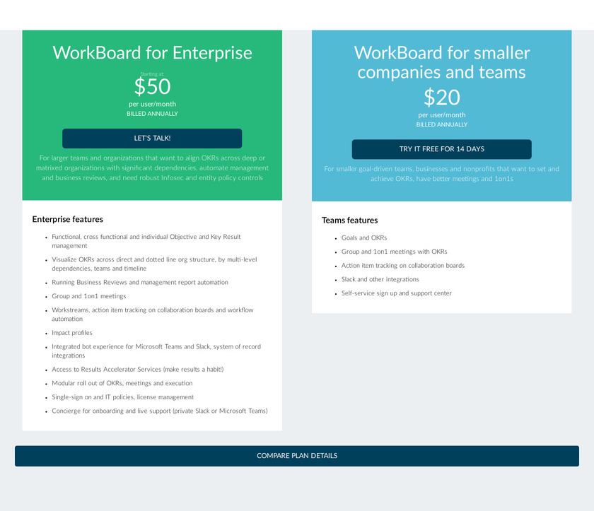 Workboard Pricing