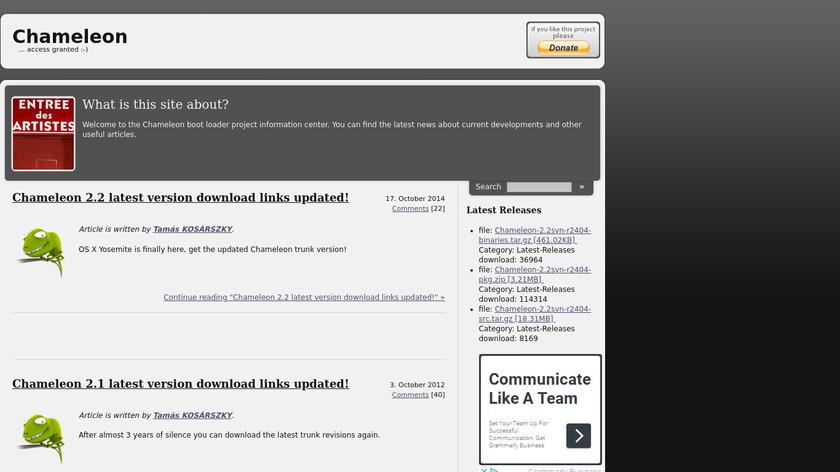 Chameleon Bootloader Landing Page