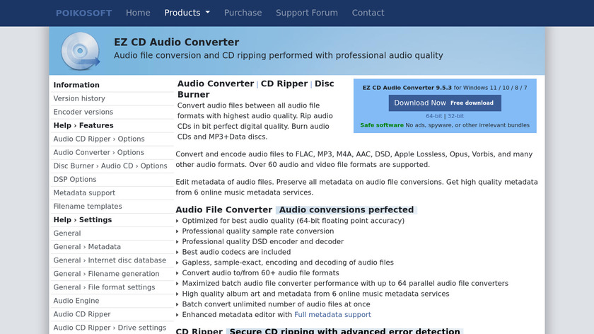 EZ CD Audio Converter Landing Page