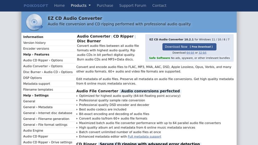 EZ CD Audio Converter Landing Page