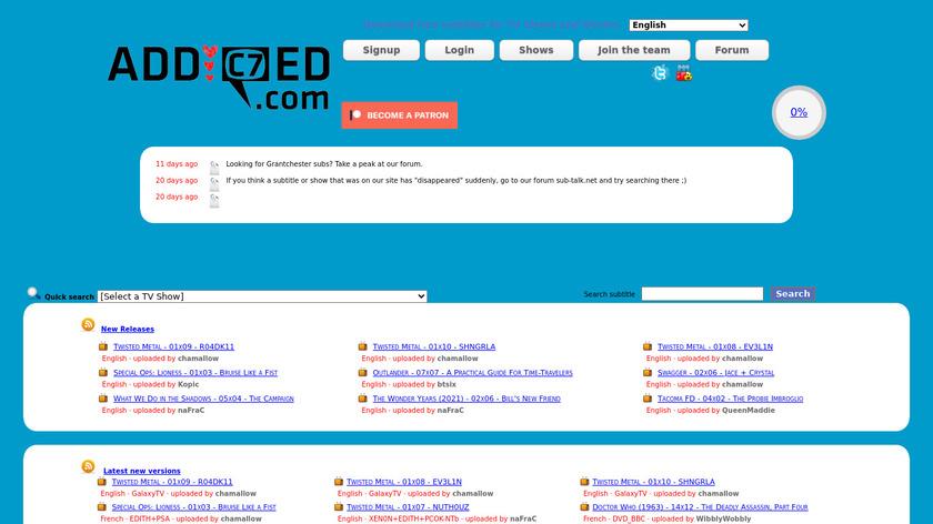 Addic7ed Landing Page