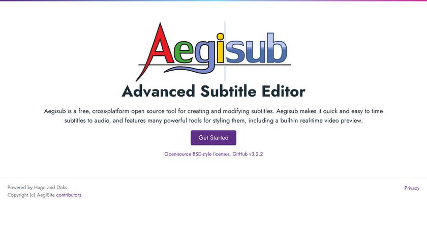 Aegisub Landing Page
