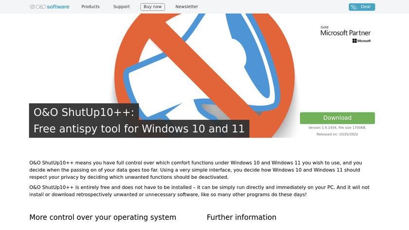 ShutUp10 Landing Page