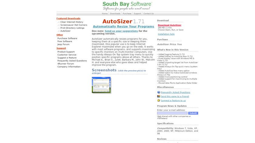 AutoSizer Landing Page