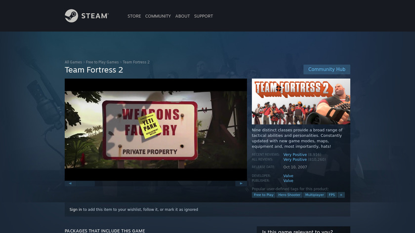 Team Fortress 2 Landing Page