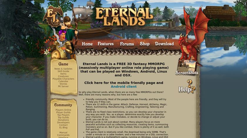 Eternal Lands Landing Page