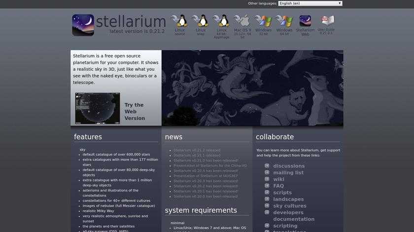 Stellarium Landing Page