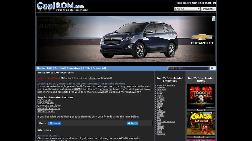 CoolROM Landing Page