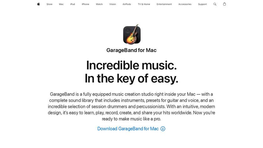 GarageBand Landing Page