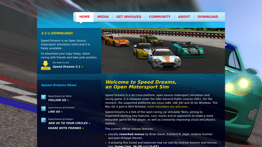 Speed Dreams Landing Page