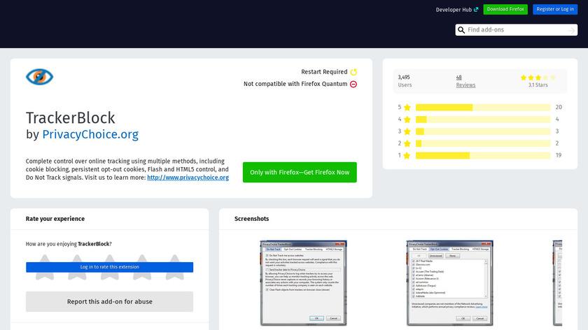 addons.mozilla.org TrackerBlock Landing Page