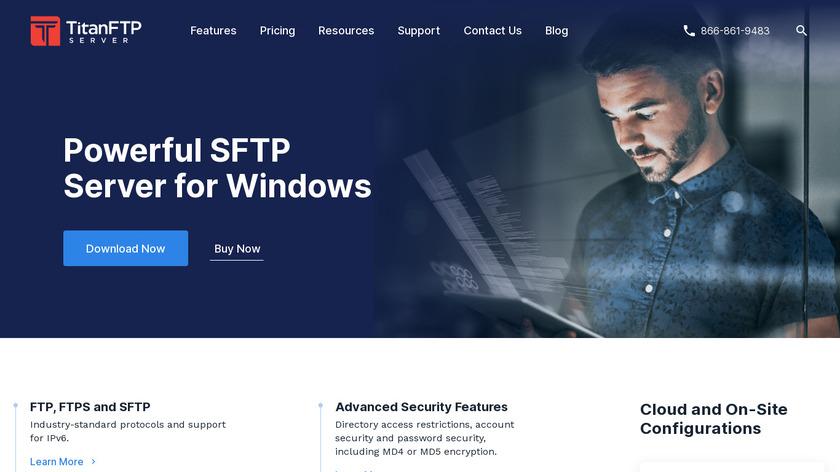 Titan FTP Server Landing Page