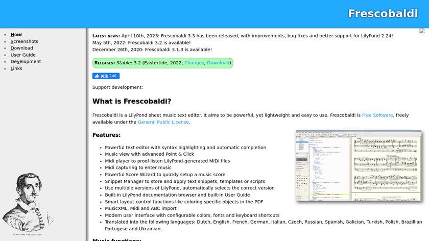 Frescobaldi Landing Page