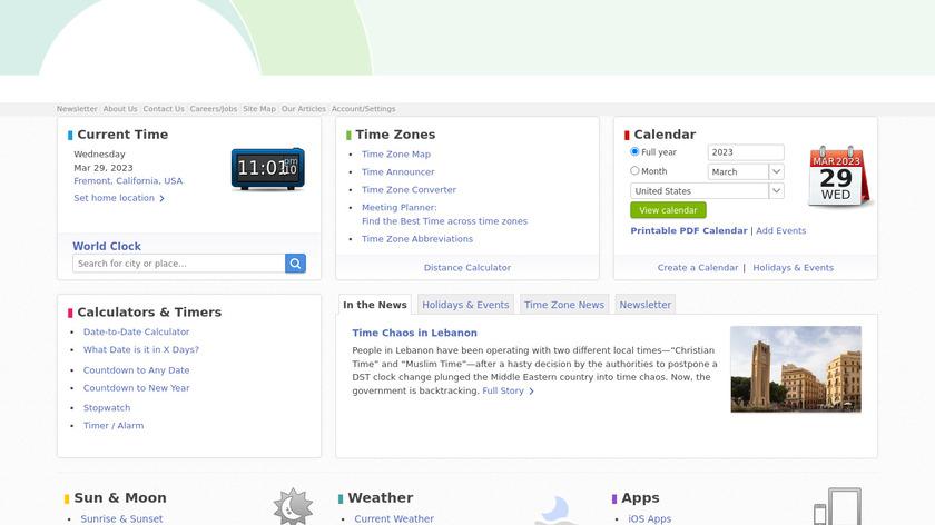 timeanddate.com Landing Page