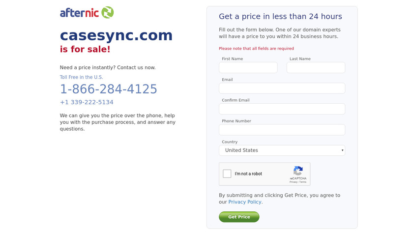 afternic.com: CaseSync Landing Page