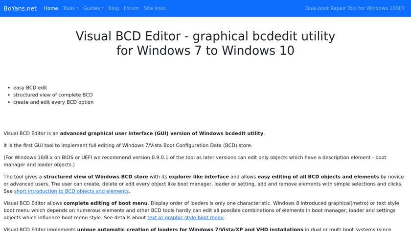 Visual BCD Editor Landing Page