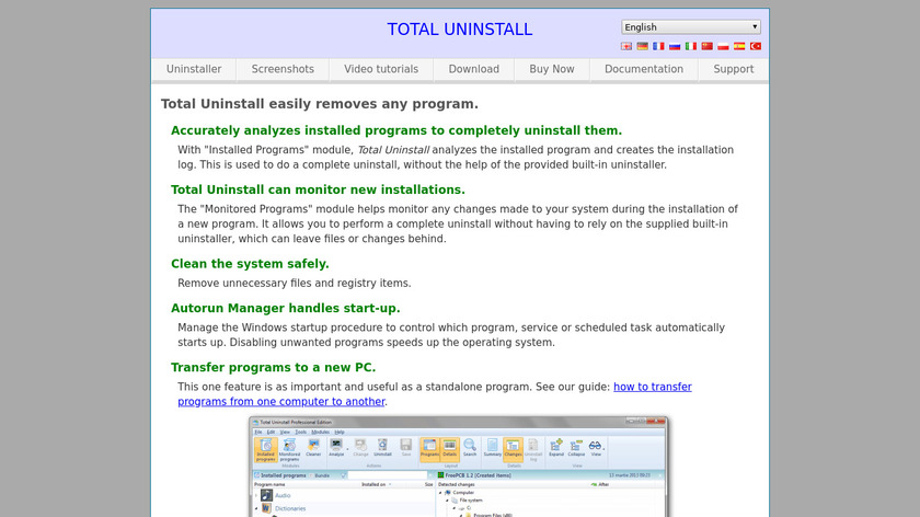 Total Uninstall Landing Page