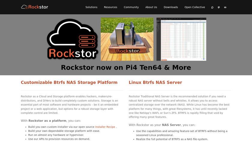 Rockstor Landing Page