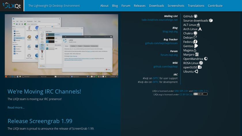 LXQt Landing Page