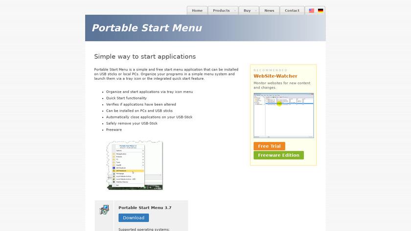 Portable Start Menu Landing Page