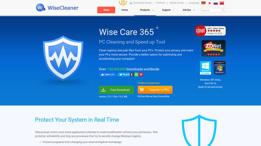 Wise Care 365 Landing Page