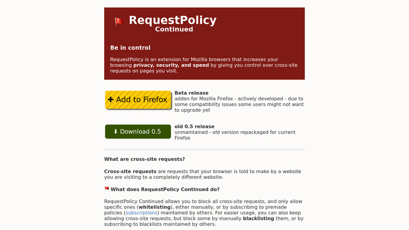RequestPolicy Landing Page