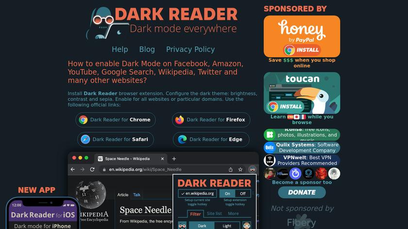 Dark Reader Landing Page