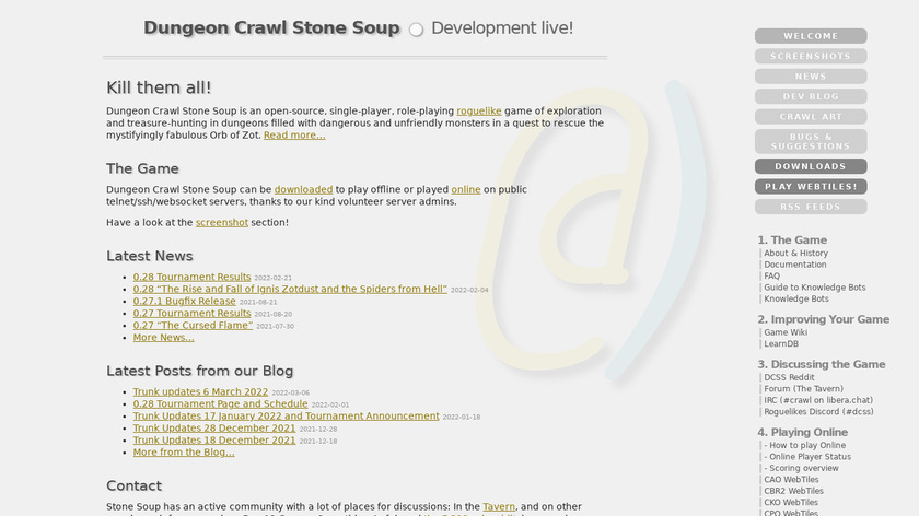 Dungeon Crawl Stone Soup Landing Page
