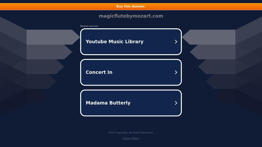 Magic Flute Landing Page