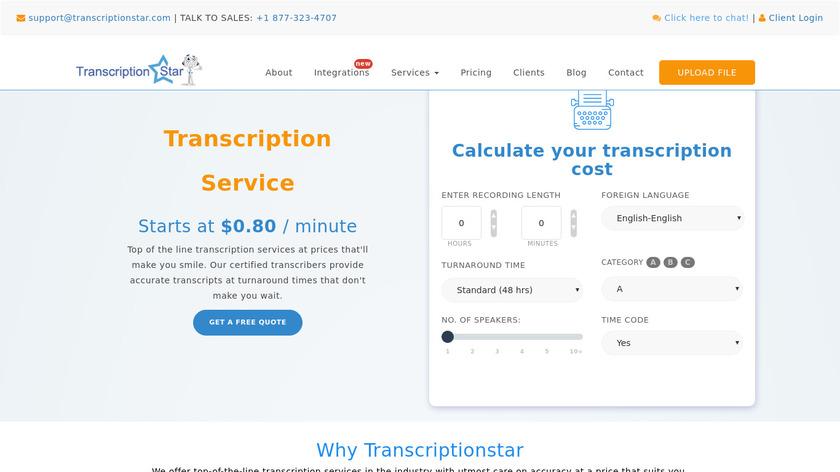 TranscriptionStar Landing Page