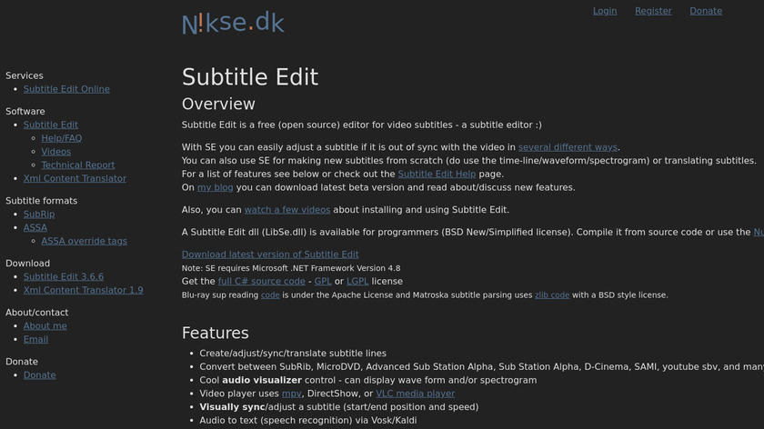 Subtitle Edit Landing Page