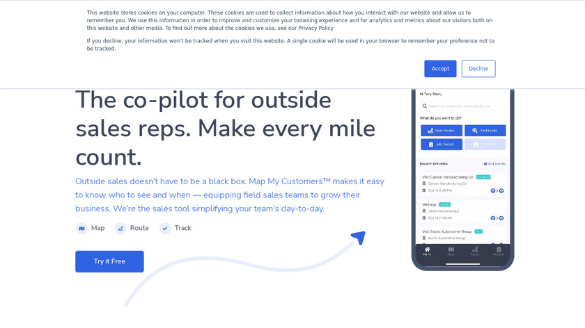 Map my customers Landing Page