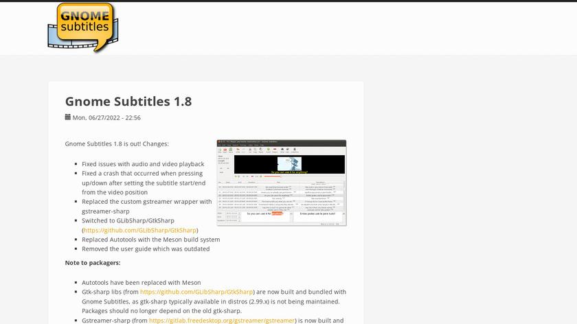 Gnome Subtitles Landing Page