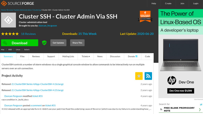 ClusterSSH Landing Page