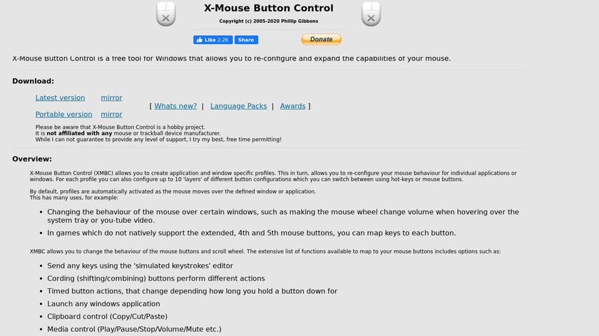 X-Mouse Button Control Landing Page