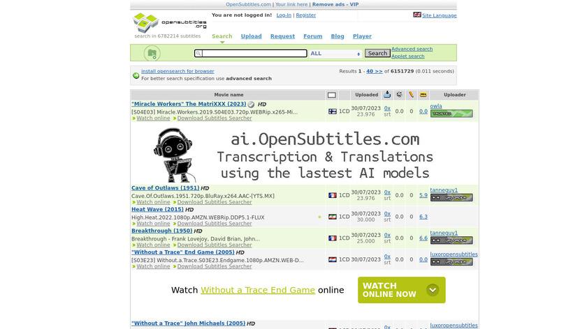 OpenSubtitles.org Landing Page