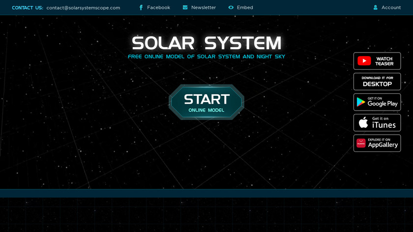 Solar System Scope Landing Page