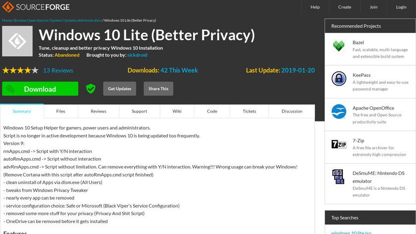 Windows 10 Lite Landing Page