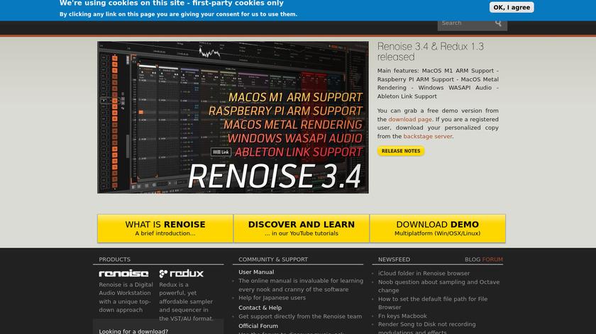 Renoise Landing Page