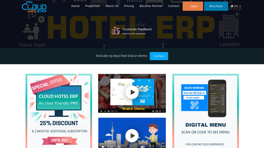 Cloud Hotel ERP Landing Page