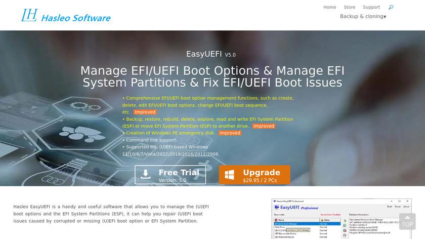 EasyUEFI Landing Page