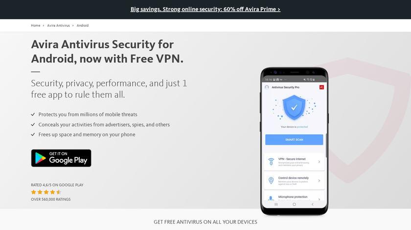 Avira Mobile Security Landing Page