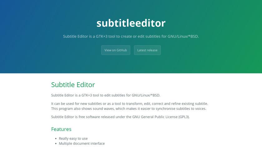 Subtitle Editor Landing Page
