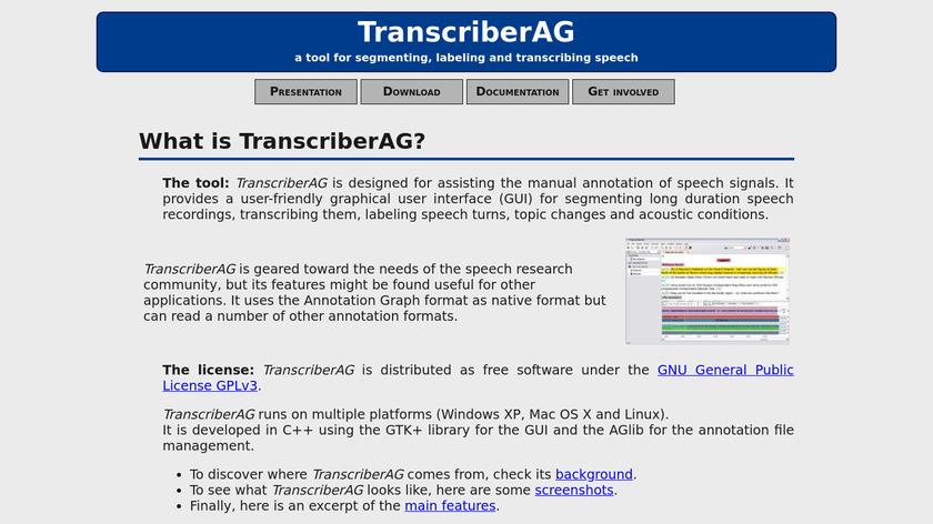 TranscriberAG Landing Page