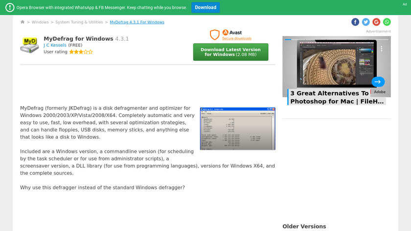 MyDefrag Landing Page