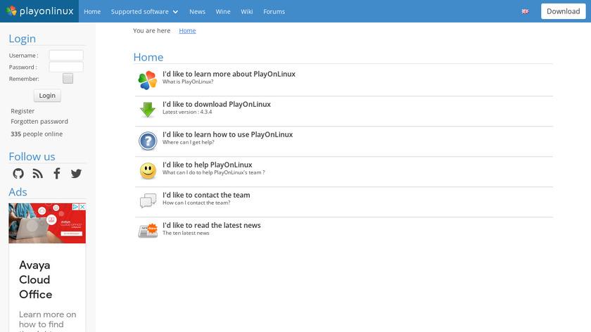 PlayOnLinux Landing Page