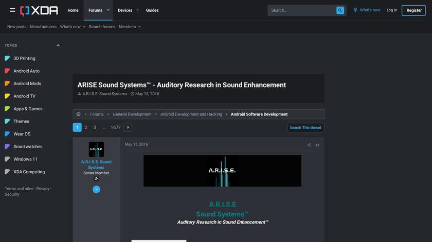 A.R.I.S.E. Sound Mod Landing Page