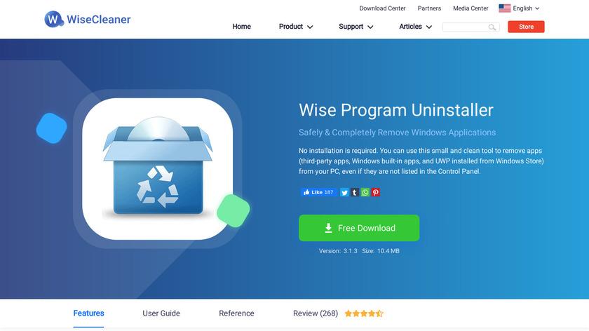 Wise Program Uninstaller Landing Page