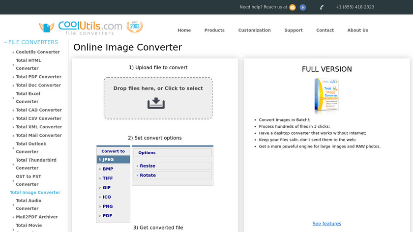 Online Image Converter Landing Page
