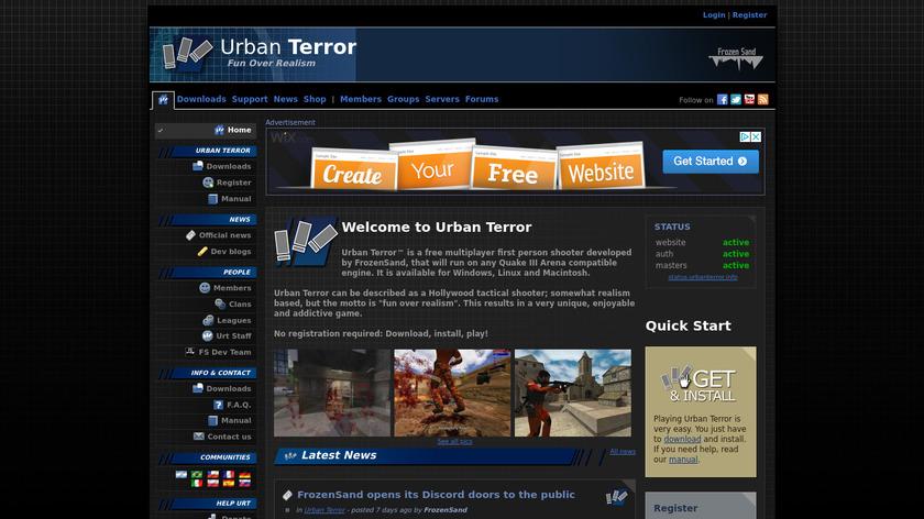 Urban Terror Landing Page